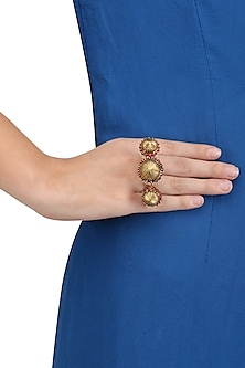 Gold Plated Bird Sitting Motif Under Jhumkas Ring by Blue Turban
