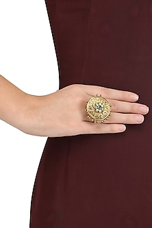Gold Plated Exquisite Embossed and Ghungroo Ring by Blue Turban