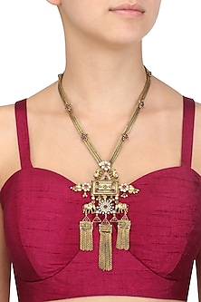 Gold Plated Elephants Inspired and Chain Fringes Necklace