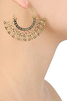 Gold Plated Geometrical Pattern Hoop Earrings