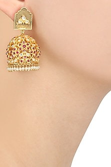 Gold Plated Red Stone Studded Jhumka Earrings