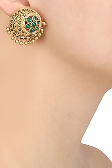 Gold Plated Filigree Work Round Stud Earrings