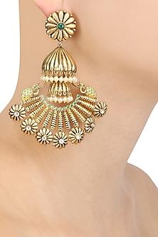 Gold Plated Peacock Ending Jhumka Long Earrings