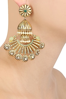 Gold Plated Peacock Ending Jhumka Long Earrings by Blue Turban