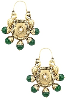 Gold Plated Double Domed Peacocks and Green Stone Earrings by Blue Turban