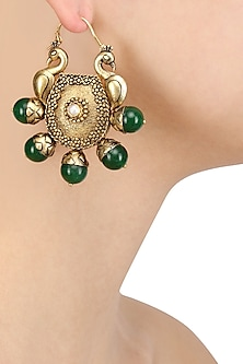 Gold Plated Double Domed Peacocks and Green Stone Earrings