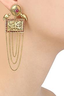 Gold Plated Two Birds Rectangular Chitai Motif Long Earrings