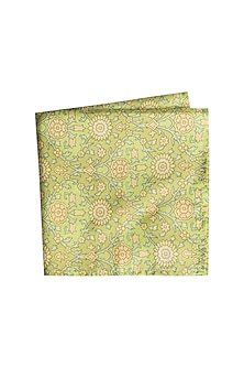 Green & Yellow Printed Pocket Square by Bubber Couture