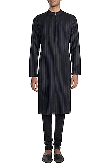 Black Textured Kurta Set by Bubber Couture