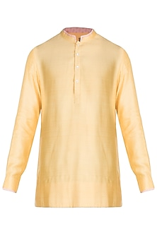 Turmeric Yellow & Wash Coral Shirt Kurta by Bubber Couture