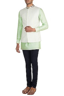 Lime Green & Off White Embroidered Bundi Jacket by Bubber Couture