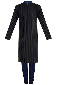 Black textured kurta set
