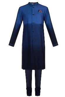 Cobalt blue embroidered kurta set