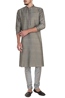 Grey embroidered kurta set by Bubber Couture
