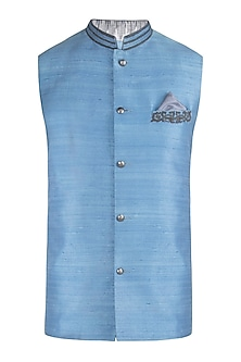 Ash blue embroidered bundi jacket
