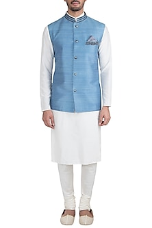 Ash blue embroidered bundi jacket by BUBBER COUTURE