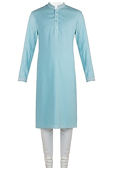 Blue embroidered lucknowi kurta set