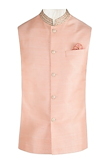 Peach embroidered bundi jacket