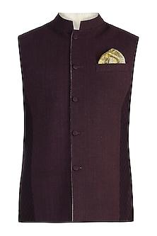 Beige reversible bundi jacket by BUBBER COUTURE