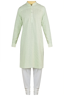 Green kurta with churidar pants