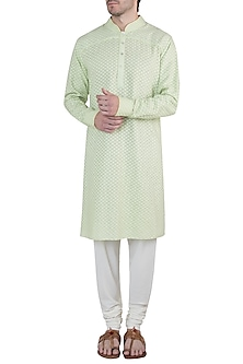 Green kurta with churidar pants by Bubber Couture