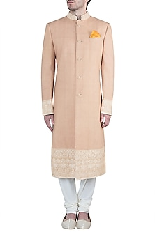 Beige embroidered sherwani by Bubber Couture