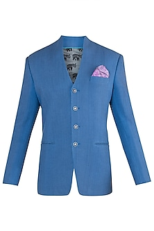 Cobalt blue bandhgala jacket by Bubber Couture
