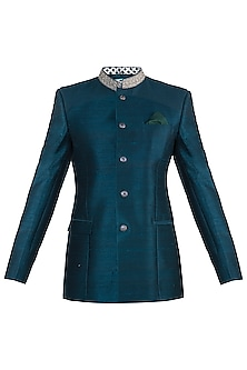 Peacock green embroidered bandhgala jacket by Bubber Couture