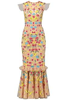 Nude Embroidered Maxi Dress by Chandan Allen