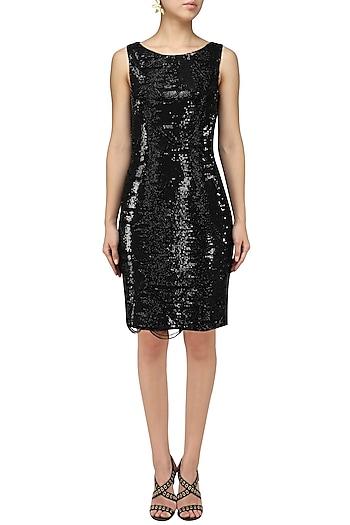 Black Embroidered Bodycon Dress by Chandan Allen