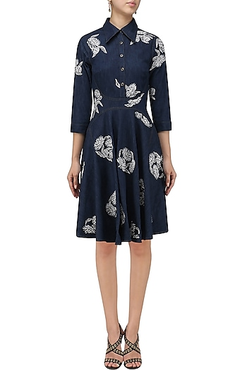 Blue Embroidered Tunic Dress by Chandan Allen