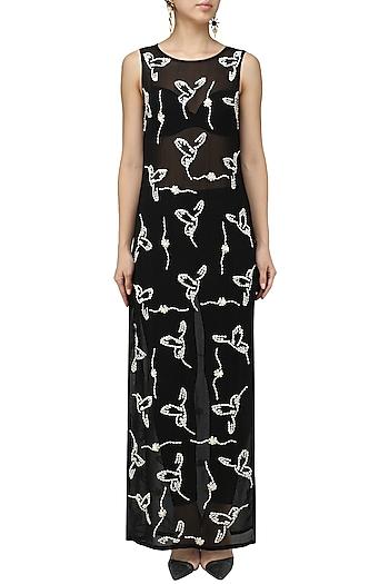 Black Sheer Asymmetrical Tunic Dress by Chandan Allen