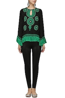 Black Embroidered Top by Chandan Allen