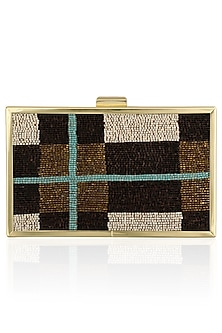 Brown Cutdana Work Clutch by RASEEL AT CASAPOP