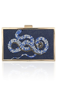 Blue Snake Motif Crystal Work Clutch by RASEEL AT CASAPOP
