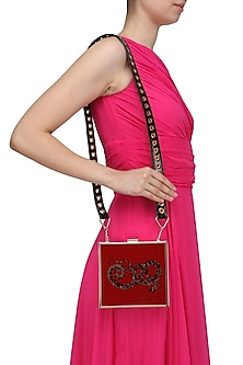 Red Snake Motif Crystal Work Clutch