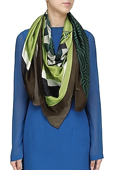 Brown Striped Digital Snake Motif Scarf by RASEEL AT CASAPOP