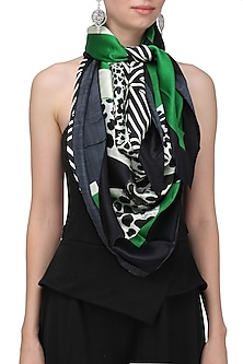 Green Striped Digital Cheetah Motif Scarf by RASEEL AT CASAPOP