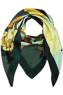Dark Green Striped Digital Floral Motif Scarf by RASEEL AT CASAPOP