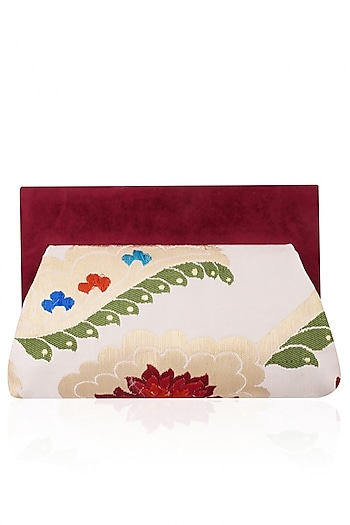 White and Maroon Floral Pattern Pouch Clutch Bag by RASEEL AT CASAPOP