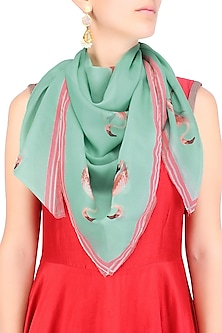 Green and Pink Ostrich Print Scarf by RASEEL AT CASAPOP