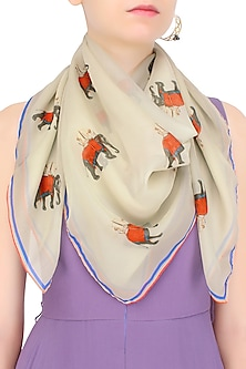 Beige and Red Elephant Print Scarf