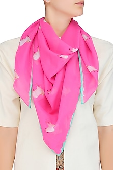 Pink and White Cow Print Scarf
