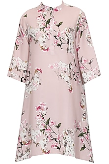 Pink Floral Printed A Line Shirt Dress by Chique Clothing