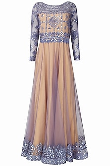 Nude and mauve mirror work valentino anarkali