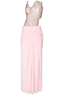 Powder pink sequins embroidered pre draped saree by Cherie D