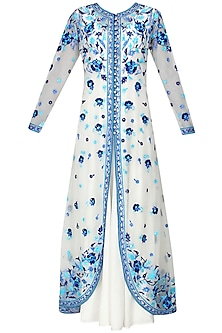 Ivory and blue floral embroidered anarkali and jacket set