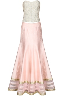 Powder pink sequins embroidered lehenga and ivory beaded corset set