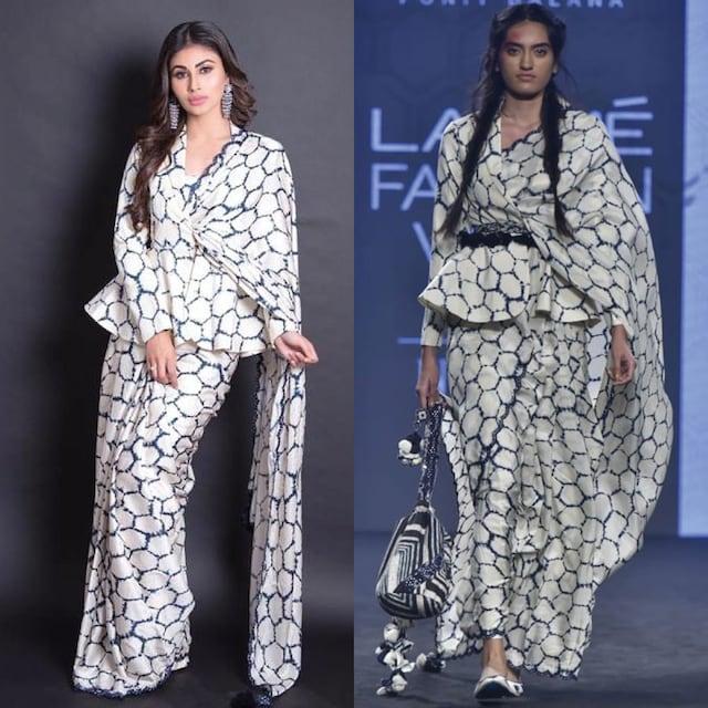 Ivory Printed Saree Set With Jacket by Punit Balana