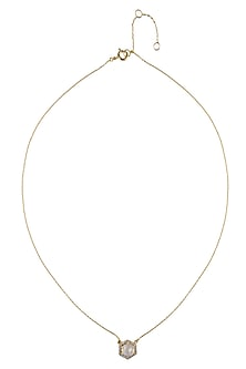 Gold Vermeil Finish Moonstone and Diamond Pendant Chain Necklace by Carrie Elizabeth